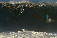 Гавайским серферам достались огромные волны