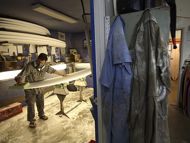 The early stages of a surfboard being crafted by Fletcher Chouinard at his workshop, Ventura CA 2007