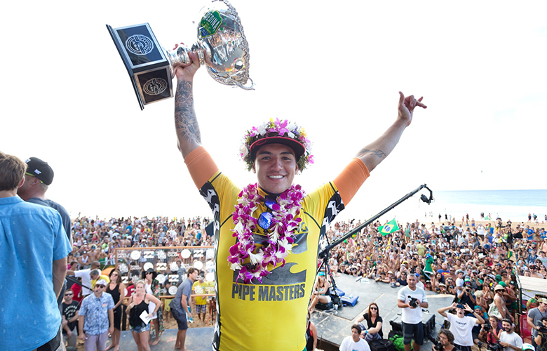 NORTH SHORE, HI - DECEMBER 19:  Gabriel Medina of Brasil won the 2014 ASP World Title at the Billabong Pipe Masters in Memory of Andy Irons on December 19, 2014 in North Shore, Hawaii.  (Photo by Kelly Cestari/ASP via Getty Images)